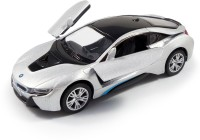 "Kinsmart 5"" 1:35 Scale BMW i8, Die Cast Metal and Openable Door Toys for Kids from Smiles Creation(Silver)"