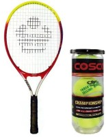 Cosco Combo Of Two, one 'Cosco 23' Tennis Racquet and One Box 'Championship' Tennis Ball Pack of 3- Multicolor Strung Tennis Racquet(Pack of: 1, 95 g)