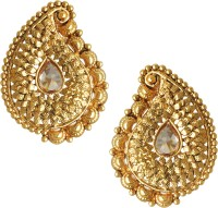Spargz Traditional Gold Plated AD Stone LCT Color Antique Koyari For Women Diamond Brass Stud Earring