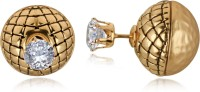 Spargz Office Wear Gold Plated Front & Back Double Sided Earrings For Women Diamond Alloy Stud Earring