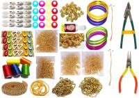 GOELX Silk Thread Jewellery Making Kit, 50 Pair Jhumka Earring Base,Jewellery Making Materials,Full Of Jewellery Making Items, All Items Set With Silk Thread & Tools (19 Items)