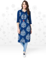 Anmi Women's Printed Straight Kurta(Blue)