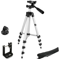 Smiledrive 105 Cm Long Dslr/Mobile/Gopro Action Camera/Digital3 Way Pan & Tilt Camera Tripod - Light Weight Pro Travel Tripod Tripod(Silver, Supports Up to 3000 g)