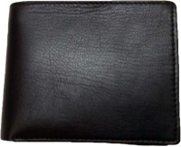 Leather Home Men Black Genuine Leather Wallet(5 Card Slots)