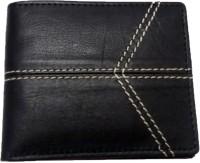 Leather Home Men Black Genuine Leather Wallet(4 Card Slots)