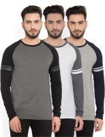 Billion PerfectFit Solid Men Round Neck Grey, White T-Shirt(Pack of 3)