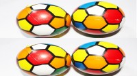 Wonder Star Colorful Soccer print Bouncy Squeeze Ball (Set of 4) Softball