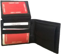 Leather Home Men Black Genuine Leather Wallet(7 Card Slots)