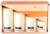 Skycandle in Vanilla Scented Marble Pillar Set (Cream, Pack of 4) Candle(Pink, Pack of 4)