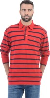 Gant Striped Men's Polo Neck Red T-Shirt