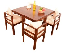 View Home Edge Bayne 4 Seater Dining Set(Finish Color - Teak) Furniture