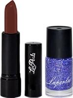 La Perla Blue Sparkle Nail Paint & Crrolla Chocolate Brown Lipstick(Set of 3) - Price 125 54 % Off