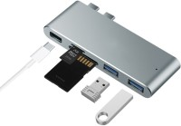 "iKraft Dual USB C Hub with Thunderbolt Type-C Port SD / TF Card Reader 2 USB-A 3.0 Ports Support Data Transfer 5K Video Output for 13"" 0r 15"" Macbook Pro 2016 / 2017 USB Adapter(Silver)"