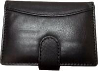 leather home Men Black Genuine Leather Card Holder(18 Card Slots)