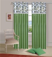 Ville Style 214 cm (7 ft) Polyester Door Curtain (Pack Of 2)(Solid, Pista)
