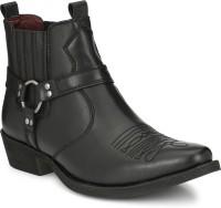 Delize Leather CowBoy Ankle Boots Boots For Men(Black)