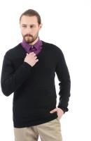Arrow New York Solid V-neck Casual Men Black Sweater