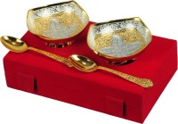 Shreeng Gold and Silver Plated Square Shaped Bowl With Spoon Set Of 4 Pcs. Brass Decorative Platter(Gold, Silver, Pack of 4)