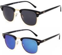Criba Clubmaster Sunglasses(Black, Blue)