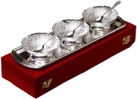 Shreeng Silver Plated Round Bowl With Spoon And Tray Set Of 7 Pcs. Brass Decorative Platter(Silver, Pack of 7)