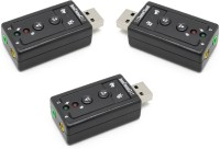 RETRACK SET OF 3PC Virtual 7.1 Channel External USB-Audio Sound Card USB Adapter(Black)