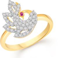 Divastri Elegant Mayur Alloy Cubic Zirconia 18K Yellow Gold Plated Ring
