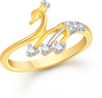 Divastri Three Stone Alloy Cubic Zirconia 18K Yellow Gold Plated Ring