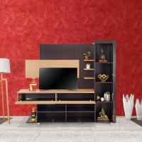 RoyalOak Milan Engineered Wood TV Entertainment Unit(Finish Color - Dark Brown)