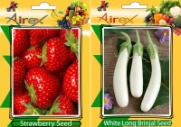 Airex Strawberry, White Long Brinjal Seed(25 per packet)