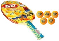 GKI Combo of Two, One 'Euro Fasto' table tennis racquet and Five 'KUNG FU' Ping Pong Balls- Table Tennis Kit