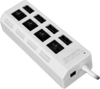 View Outre Independent 4 Port Individual Switches With LED lights USB Hub(White) Laptop Accessories Price Online(Outre)