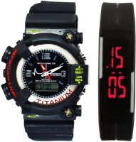 lavishable Analog-Digital S-Shock Black & Rubber Led Band Red For Boys & Girls Combo Watch - For Boys Watch  - For Men & Women