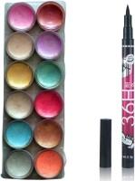 Vozwa 12 in 1 Shimmer Powder and sketch pen eyeliner(Set of 2) - Price 140 62 % Off