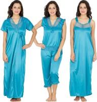 Klamotten Women's Nighty with Robe, Top and Capri(Blue)
