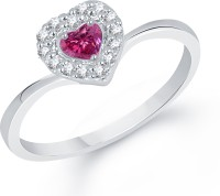 Divastri Divine Red Ruby Heart Alloy Cubic Zirconia Rhodium Plated Ring