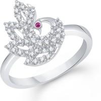 Divastri Elegant Mayur Alloy Cubic Zirconia Rhodium Plated Ring