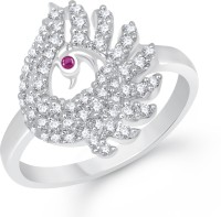 Divastri Bewitching Mayur Alloy Cubic Zirconia Rhodium Plated Ring