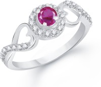 Divastri Ruby Studded Heart Alloy Cubic Zirconia Rhodium Plated Ring