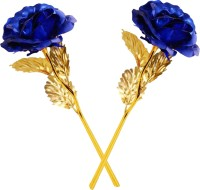 Encelade Blue Gold Plated Valentine gift Roses Blue, Gold Rose Artificial Flower(10 inch, Pack of 2)