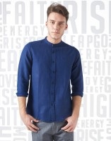 Metronaut Men Solid Casual Blue Shirt