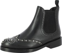 Saint G Black Leather Womens Ankle Boots For Women(Black)