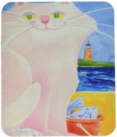 Caroline's Treasures White Cat By the Lighthouse MousePad Mousepad(Multicolor)