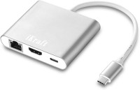 iKraft USB-C Multiport HDMI Adapter Type C 3.1 HDMI Hub with Gigabit Ethernet USB 3.0 Port for MacBook Chromebook and other USB Type-C Devices USB Adapter(Silver)