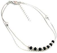 Bold N Elegant Silver Plated Multicolor Multilayer Bead Black Bead Anklet Bracelet Barefoot Jewelry Alloy Anklet