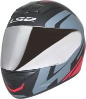 LS2 Helmet FF352-L Touring Matt Black Grey Red With Mercury Visor Motorbike Helmet(Black, Grey, Red)
