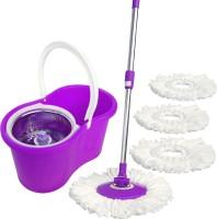WCSE 360 Degree rotating with 2+2 Microfiber purple Wet & Dry Mop(Purple 1.23 m)