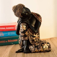 Brothers creation Black Golden Thinking Lord Buddha Showpiece - 26 cm (Polyresin, Multicolor) Decorative Showpiece  -  26 cm(Polyresin, Multicolor)