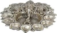 Halowishes Pretty White Metal God Ganesha Silver Dia Idol Brass Table Diya Set(Height: 3 inch)