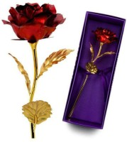 Angels Store 24K Red Golden Rose with gift box & carry bag Decorative Showpiece  -  10 cm(Gold Foil, Red)