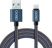 CEDO Branded 1m long Jeans Cloth Denim Original Certified Micro USB Sync android Data Cable for Samsung, Lenovo, Xiomi MI, HTC, LG, Nexus, Motorola Moto, ASUS, Coolpad, Sony, Micromax, Honor, Intex, Meizu, Karbonn, Super fast charging up to 2.4Amps. USB Cable(Blue)